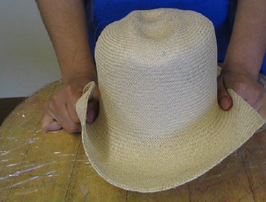 Stretch capeline over hat blocks for blocking in one