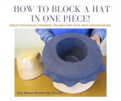 Making men's hats – blocking in one with upturn brim
